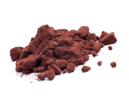 cacao: Cacao powder on white ground Stock Photo