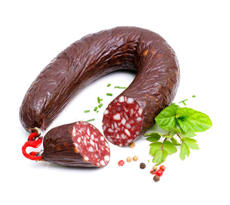 butcher s shop: Blood sausage Stock Photo
