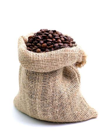 planta de cafe: Los granos de caf� en una bolsa