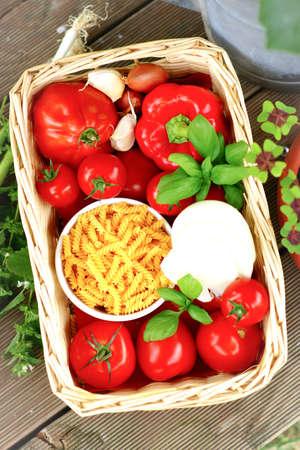Tomatoes, noodles and mozzarella Stock Photo - 14349811
