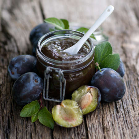 preserving: Damson jam in a preserving glass