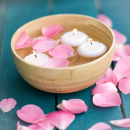 perfumed candle: Wellness symbols with candles Stock Photo