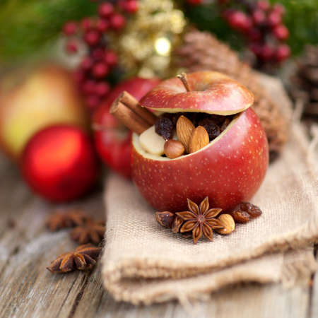apple christmas: Roast apple with christmas decorations  Stock Photo