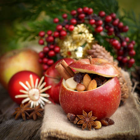 christmas paste: Roast apple with christmas decorations  Stock Photo