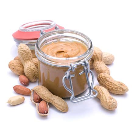 peanut butter: Fresh peanut butter on white ground