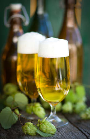 brewage: Fresh beer Stock Photo
