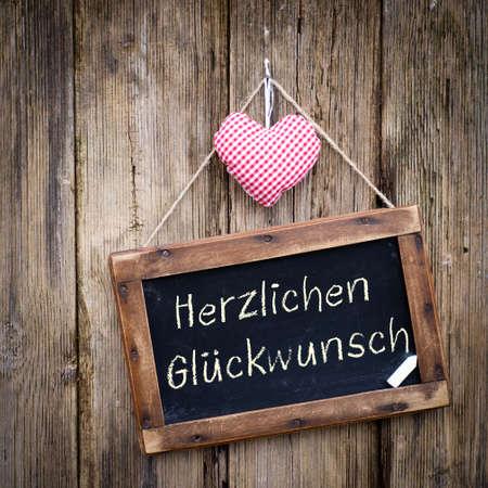 felicitation: Slate  Herzlichen Gl�ckwunsch  german  Stock Photo