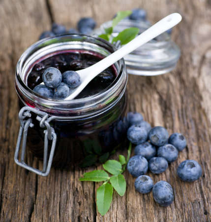 Blueberry jam in a preserving glass