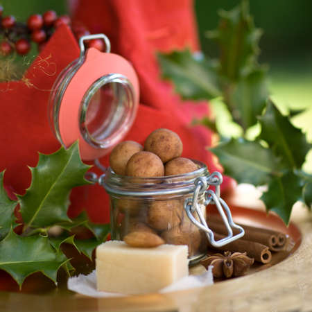christmas paste: Almond paste potatoes in a preserving glass