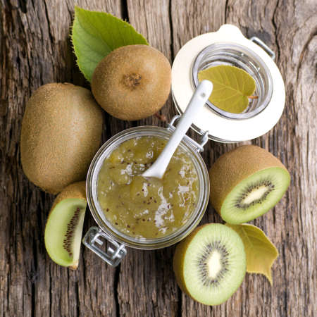 preserving: Kiwi jam in a preserving glass