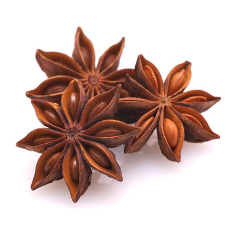 Star anise on white ground