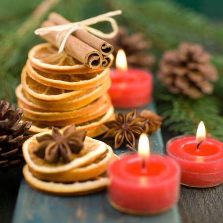 advent time: Christmas spices on wooden ground Stock Photo
