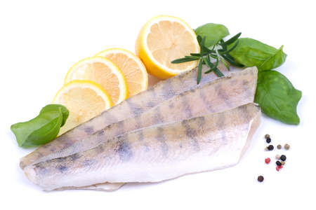a freshwater fish: Fresh pikeperch fillet Stock Photo