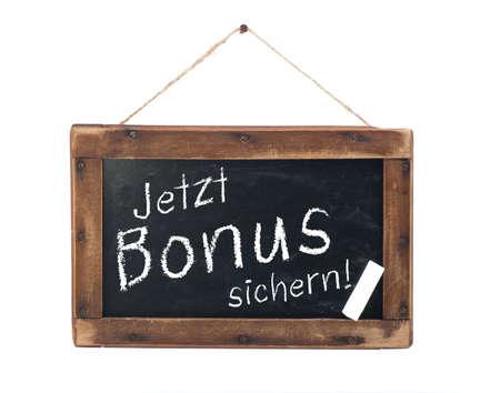 hedging: Chalkboard with german text  Save bonus Stock Photo