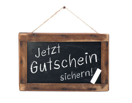 Chalkboard with german text  coupon Stock Photo - 17076684