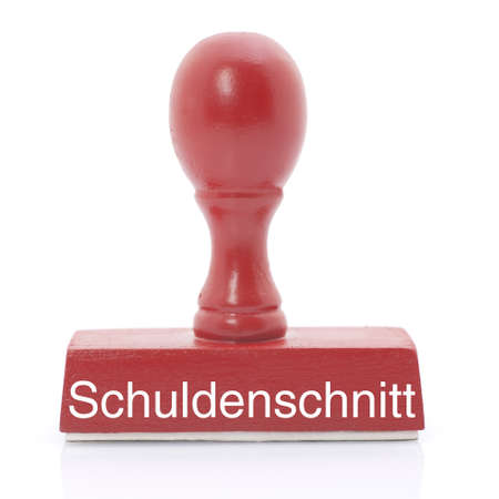 Stamp with german text  debt cut Stock Photo - 17169737