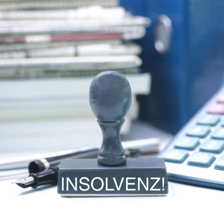 insolvency: Stamp with german text  insolvency Stock Photo