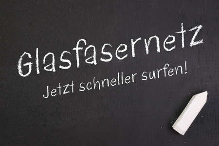 optical fiber: Chalkboard with german text  Optical fiber network