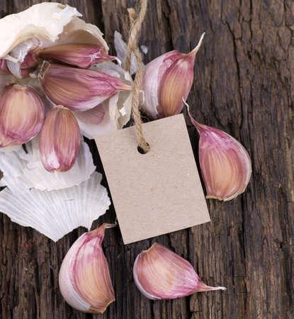 Fresh garlic, label Stock Photo - 17995169