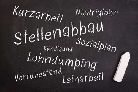 cutback: Label with german text  reduction of staff Stock Photo