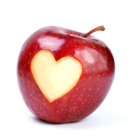 apple red: Apple, heart