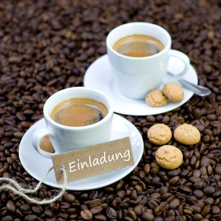 Espresso with label  Invitation Stock Photo - 17965600
