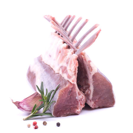 rack of lamb: Raw lamb rack