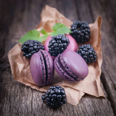 recipe background: Macaroons with blackberries