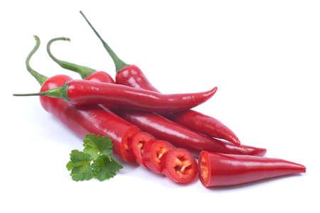 Red chili pepper on white ground Stock Photo - 18706015