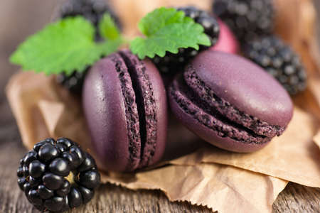 Macaroons with blackberries