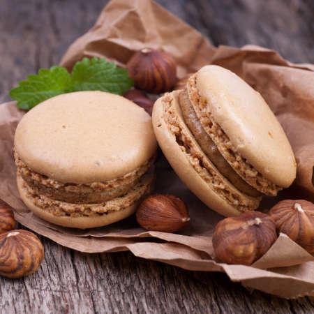 Macaroons with hazelnuts photo