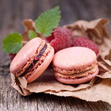 Macaroons with raspberry  Stock Photo