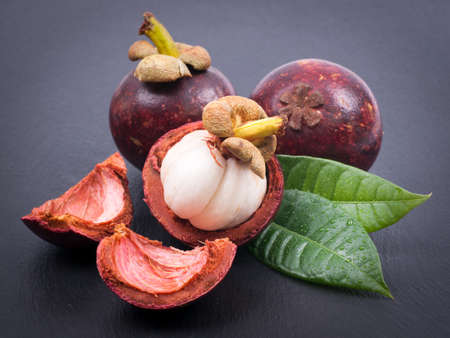 Fresh mangostan Stock Photo