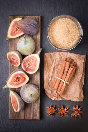 purple fig: Fresh figs and several ingredients