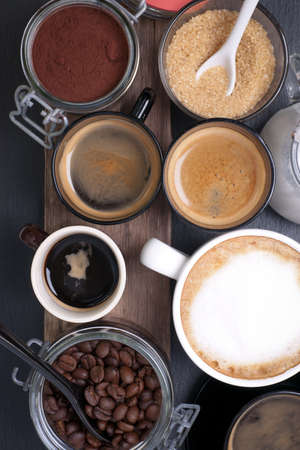latte macchiato: Fresh coffee with several ingredients