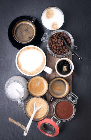 coffee table: Fresh coffee with several ingredients