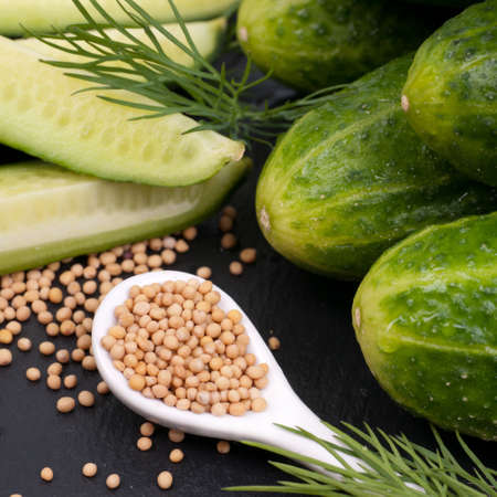 mustard seed: Fresh gherkins and mustard seed Stock Photo