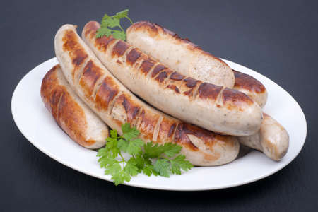 bratwurst: Fried sausage Stock Photo