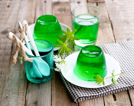 sweet woodruff: Gelatin dessert with woodruff Stock Photo