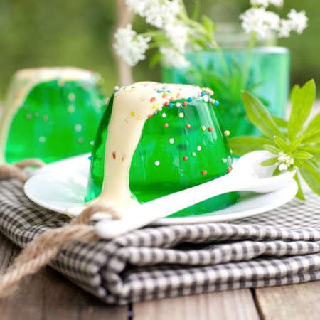 GELATIN: Gelatin dessert with woodruff Stock Photo