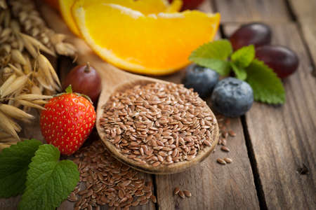 eating breakfast: Linseed and fruits