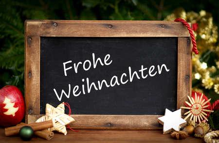 Slate with German text: Merry christmas