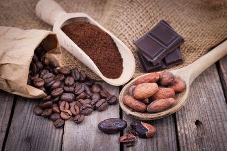 Coffee beans, chocolate