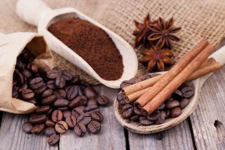 Coffee beans, spices