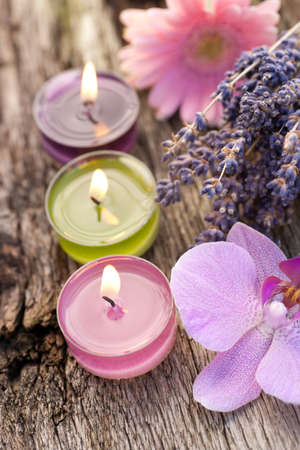 Wellness, candles on wooden table