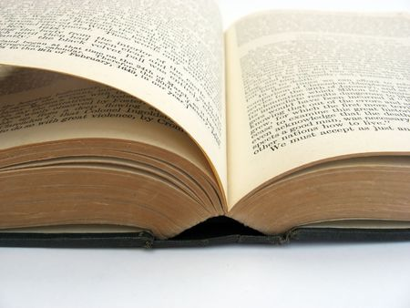 an open book on a plain background Stock Photo - 1849873