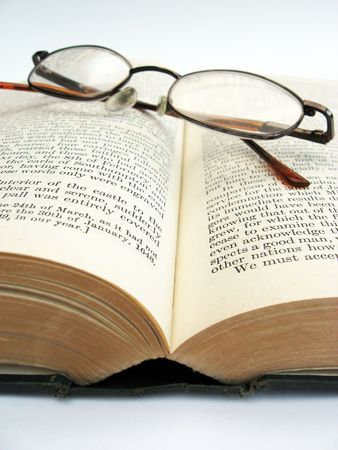 photo of glasses on an open book Stock Photo - 1849870