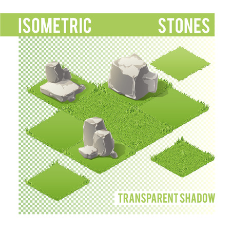 sample environment: Isometric Stones with transparent shadow for landscape design