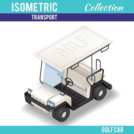 interceptor: Isometric white Golf Car. Isometric white transport. Isolated Vector.