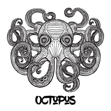 sea monster: Giant Octopus - Sea Monster. Vintage hand drawn illustration. Illustration